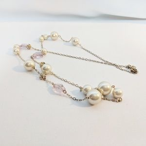 Gorgeous J. Crew Pearl & Rhinestone Long Necklace